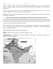 India and Pakistan: Gaining Independence Worksheet