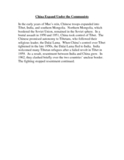 China under Communists Command: Reading Passages Worksheet
