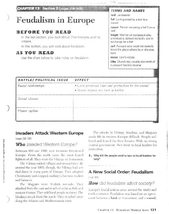 Worksheets Feudalism Worksheet feudalism in europe ch 13 6th 10th grade worksheet lesson planet