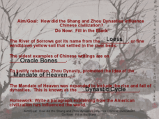 How Did the Shang and Zhou Dynasties Influence Chinese Civilization? Presentation