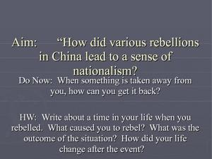 Chinese Rebellions and Nationalism Presentation