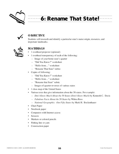 Rename That State! Lesson Plan