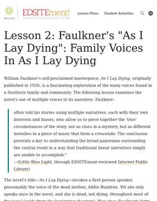 Faulkner's As I Lay Dying: Family Voices In As I Lay Dying Lesson Plan