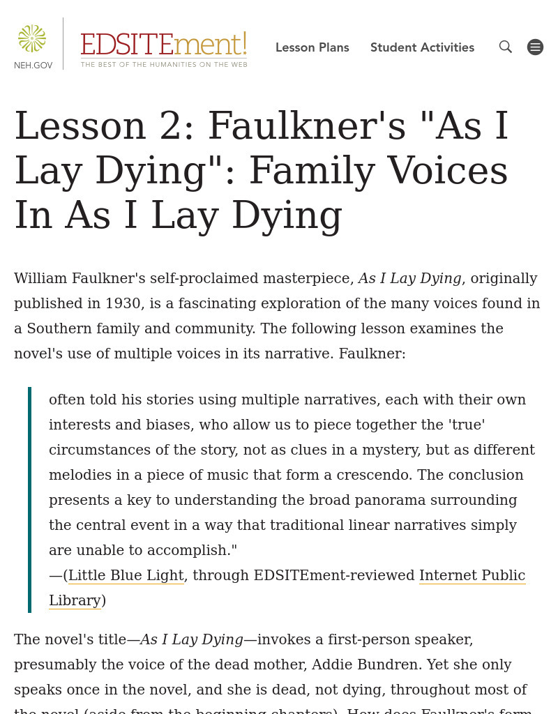 Fun Lesson Plans: As I Lay Dying