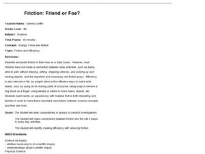 friction friend or foe In this lesson, students will learn how different variables (mass, friction, and force)  affect the motion of an object  friction friend or foe student sheetsdocx.