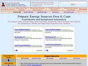 Primary Energy Sources Pros and Cons Lesson Plan