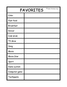 Favorites Worksheet