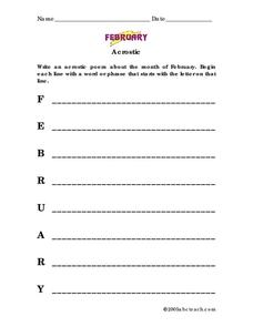 February acrostic poem Worksheet