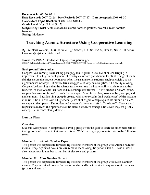 Teaching Atomic Structure Using Cooperative Learning Lesson Plan