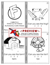 Letter F Mini-Book Worksheet