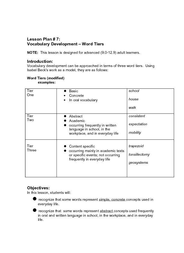 Vocabulary Development - Word Tiers 9th - 12th Grade Lesson Plan ...