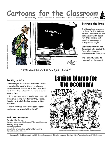 Cartoons in the Classroom: Economic Blame Game Worksheet