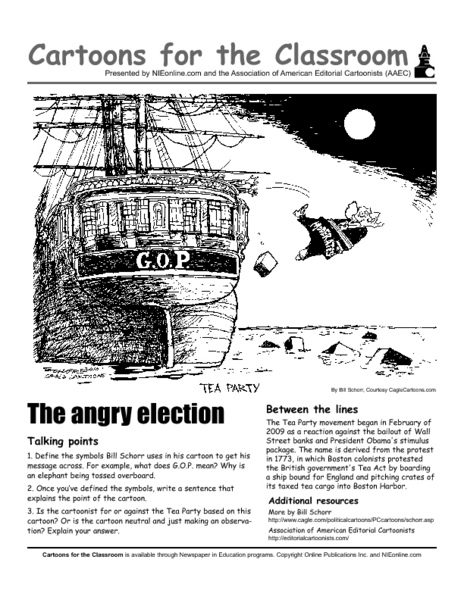 Cartoons For The Classroom The Tea Party Worksheet For
