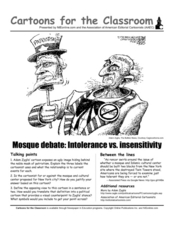 Cartoons for the Classroom: Mosque debate Intolerance vs. Insensitivity Worksheet