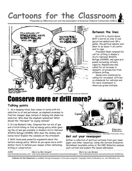 Cartoons In The Classroom Conserve Or Drill Worksheet For