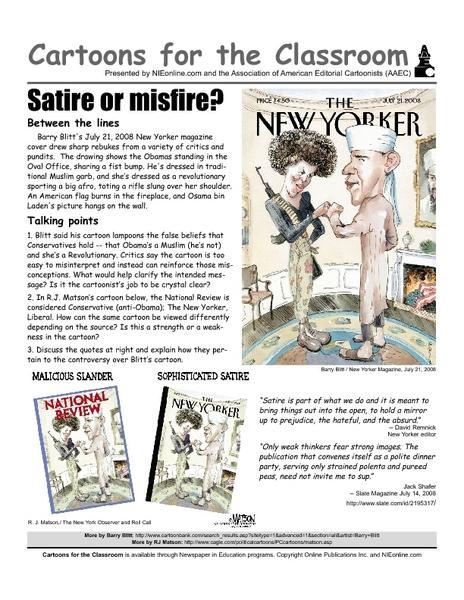 Cartoons For The Classroom Satire Or Slander Worksheet For 11th
