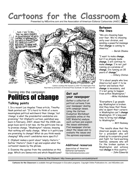 Cartoons For The Classroom Politics Of Change Worksheet