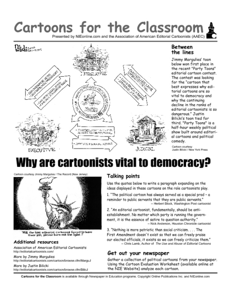 Cartoons for the Classroom: Why are Cartoonists Vital to Democracy Worksheet