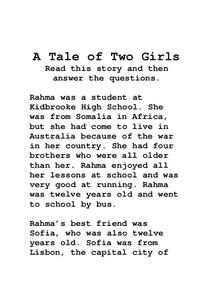 A Tale of Two Girls Lesson Plan