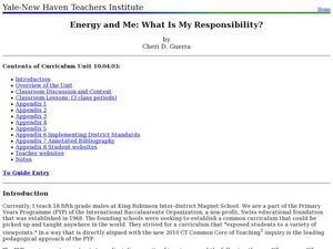 Energy and Me: What is My Responsibility? Lesson Plan