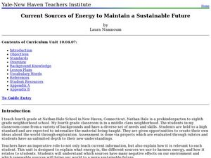 Current Sources of Energy to Maintain a Sustainable Future Lesson Plan