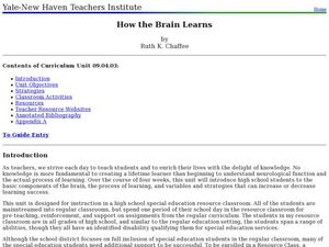 How the Brain Learns Lesson Plan
