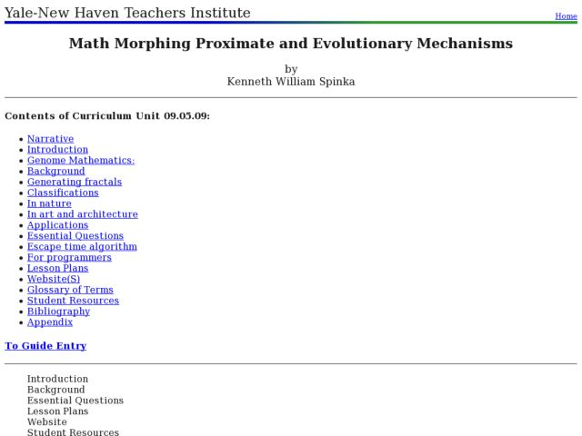 Math Morphing Proximate and Evolutionary Mechanisms Lesson Plan