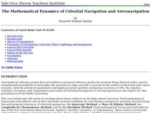 The Mathematical Dynamics of Celestial Navigation and Astronavigation Lesson Plan