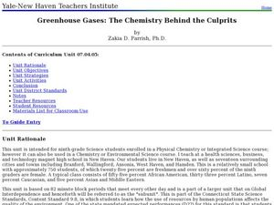 Greenhouse Gases: The Chemistry Behind the Culprits Lesson Plan