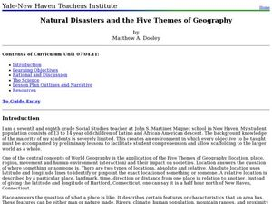 Natural Disasters And The Five Themes Of Geography Lesson Plan For
