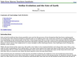 Stellar Evolution and the Fate of Earth Lesson Plan
