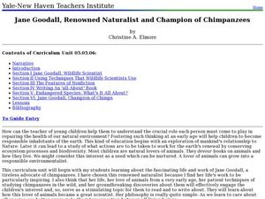 Jane Goodall, Renowned Naturalist and Champion of Chimpanzees Lesson Plan
