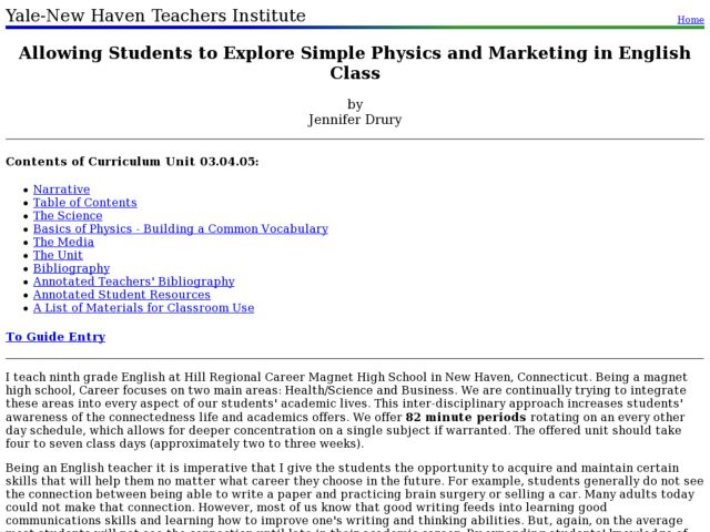 Allowing Students to Explore Simple Physics and Marketing in English Class Lesson Plan