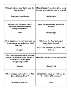 Feudal Japan Lesson Plans & Worksheets | Lesson Planet