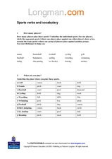 Sports Verbs and Vocabulary Worksheet