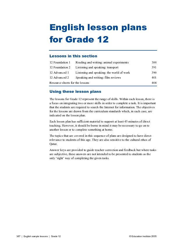 English Lesson Plans for Grade 12 Lesson Plan for 12th Grade