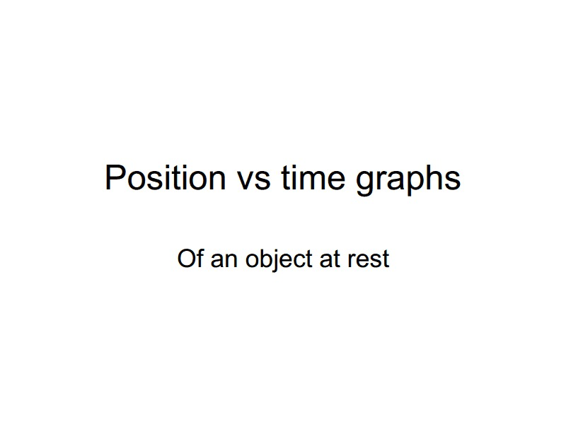 Position vs. Time Graphs of an Object at Rest Presentation