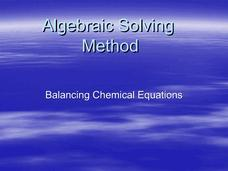 Algebraic Solving Method for Balancing Chemical Equations Presentation
