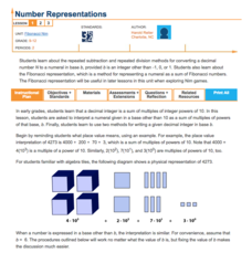 Number Representations—Fibonacci Nim Lesson Plan