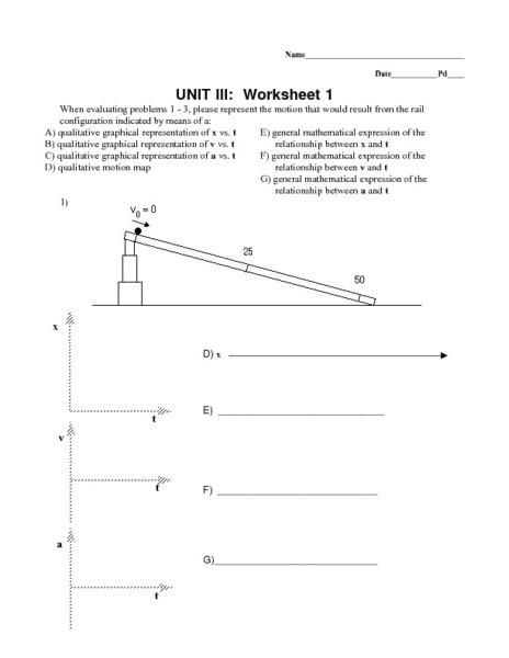 Unit III: Worksheet 1 - Uniform Acceleration 9th - 12th Grade ...