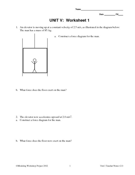 Unit V Worksheet 1 Constant Force Worksheet For 9th 12th Grade
