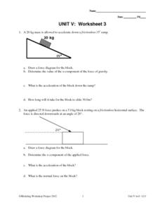 Unit V: Worksheet 3 - Constant Force Worksheet
