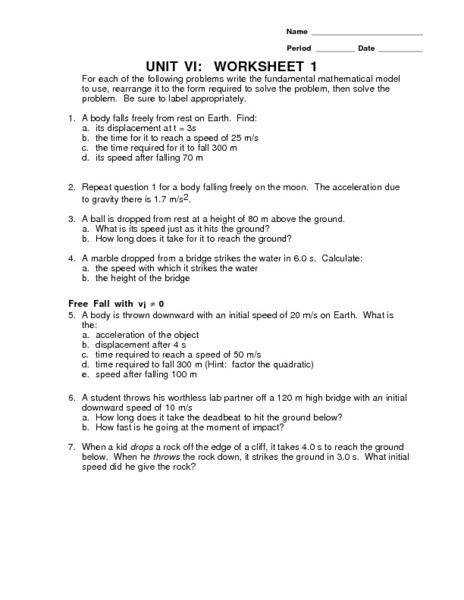 Unit Vi Worksheet 1 Constant Force Gravitational