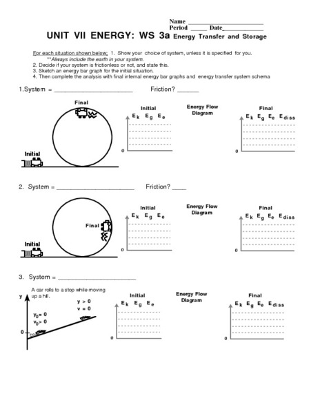Unit VII Energy: WS 3a Energy Transfer and Storage Worksheet ...