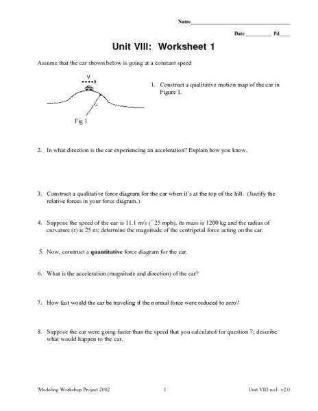 Unit VIII: Worksheet 1 - Central Force 9th - 12th Grade Worksheet ...