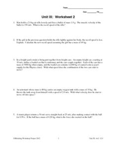Unit IX: Worksheet 2 - Impulsive Force Worksheet