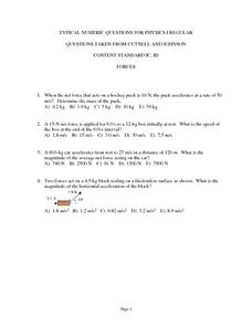 Typical Numeric Questions for Physics I - Forces Worksheet