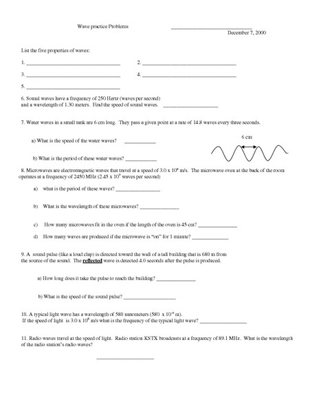 Wave Practice Problems Worksheet For 9th 12th Grade Lesson Planet