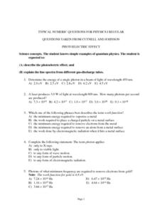typical numeric questions for physics i photoelectric effect worksheet for 10th 12th grade. Black Bedroom Furniture Sets. Home Design Ideas