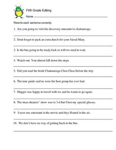 Fifth Grade Editing Worksheet
